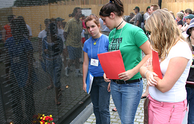 American Civics Center - High School students at Vietnam Wall